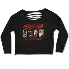 Motley Cruë Too Fast for Love Slashed Sweater NWT Motley Cruë Too Fast for Love long sleeve pullover sweater with album art on the front. Size medium. New with tags. Hot Topic Sweaters Crew & Scoop Necks