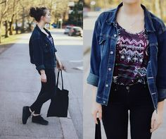 Second Hand Denim Jacket, Gina Tricot Top, Dr.Denim Jeans, Vagabond Platform Shoes, Monki Tote Bag