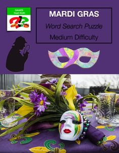 MARDI GRAS  Word Search puzzles for kids or adults. Fat Tuesday - Mardi Gras Word SearchMedium Word Search puzzle for Mardi Gras or Fat Tuesday. Mardi Gras medium word search for elementary and middle school. Adults would enjoy this word search level as well. Check out my other monthly word search puzzles! JANUARY Word Search Puzzles: Martin Luther King Word Search Puzzles Winter Word Search Puzzles - Mozart Word Search Puzzles - Football Word Search Puzzles - Easy Medium Hard more