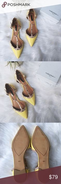•Halogen Olson Pointy Toe Flat• NWB light yellow Halogen Olson pointy toe studded ankle strap flat. A flattering T-strap flat that can be dressed down or up. Super trendy studs can be worn in all seasons.   •color: light blue and tan straps  •ankle straps •leather upper •new in box  Sizing: fits like a 7, runs a size larger  •No trades(comments will politely be ignored). •15% off 2+ items  Halogen Shoes Flats & Loafers