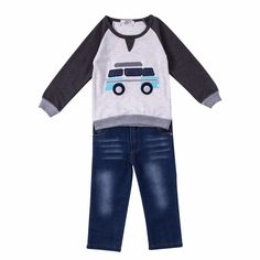 Casual Car Tee and Jeans (2pc-set), 19% discount @ PatPat Mom Baby Shopping App