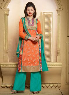 Spectacular Orange and Turquoise Pant Style Salwar Suit