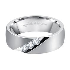 Magnificant Design Three Diamond White Gold Mens Wedding Bands with Bazel Set Diamonds Rings - http://www.mybridalring.com/Mens/14k-white-gold-bazel-set-diamond-wedding-ring/