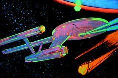 """This is a """"black-light"""" poster of the Starship Enterprise. I bought it around This photo is of the poster under a black light. The black is actually felt. Star Trek Poster, Sci Fi Kunst, Star Trek 1, R Wallpaper, Heaven Wallpaper, Star Trek Images, 70s Sci Fi Art, Black Light Posters, Light Art"""