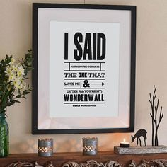 'Wonderwall Oasis' Typography Print from notonthehighstreet.com