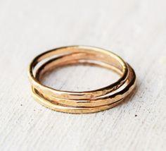 Solid Gold Ring  One Band  14 Karat Gold  by lovestrucksoul