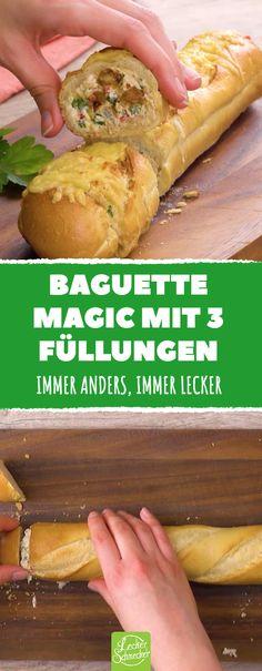 Diese Arten, Baguette zuzubereiten, ist einfach und perfekt geeignet, wenn man einen Snack zum Mitnehmen will! #rezept #rezepte #baguette #brot #füllung #gefüllt #käse #überbacken #hühnchen #gemüse #vegetarisch #lachs #frischkäse #unterwegs #picknick #togo #party