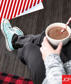 Tis the season to get cozy with cocoa. So sip on some homemade hot chocolate and kick back in your converse while you wait on Kris Kringle. Just follow this simple recipe: 1. Heat 1 1/2 cups heavy cream, 1 1/2 cups milk, 1/4 cup sugar, and 1/8 tsp salt over medium-low heat.  2. When it steams, stir in 6 oz of chopped bittersweet chocolate until melted. And add 2 drops peppermint oil.  3.  Serve in a big warm mug.