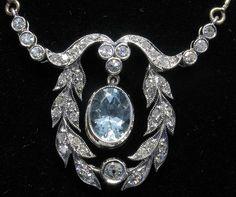 aquamarine & diamond necklace