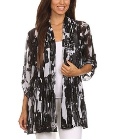 Another great find on #zulily! Black & White Abstract Open Cardigan - Women & Plus #zulilyfinds