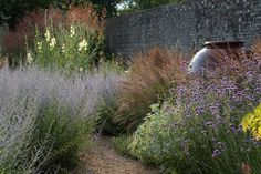 The wall is a wonderful backdrop to the planting and the oversized urn adds drama but sits harmonious among the tall plants