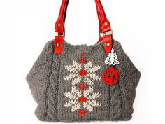 crafty crochet that looks good  Grey Shoulder Bag Celebrity Style With Genuine by Sudrishta, $110.00