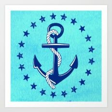 Nautical Anchor with Stars Art Print