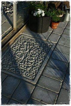 betong ute och inne: dörrmatta