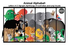 This adorable clip art set of Alphabet Animals set include 43 Animals in all. (In both vibrant color and black and white)26 Letters A-Z Animals9 Digraph and Diphthong Animals5 Long Vowel Animals3 R-Controlled AnimalsPlus 1 picture including all animals in a cage.Each image is high quality png file created to ensure vibrant, crisp, colors that can be enlarged and easily layered.These designs are copyrighted by Kindergar...