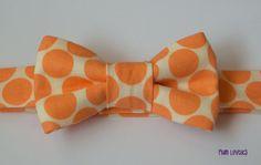 Modern Baby Bowtie  Tangerine Orange Dot