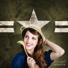 Vintage portrait of a cute smiling 1950 military pinup woman saluting with ladle while wearing colander soldier helmet by Ryan Jorgensen