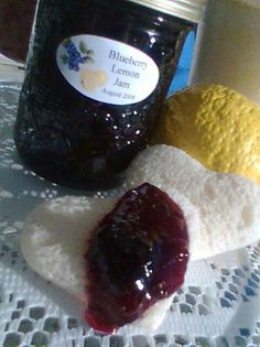 Blueberry-lemon Jam. I adjusted the recipe to 5 cups blueberries and 5 cups sugar.  Perfect!!
