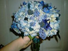 Wedding Bouquet With: Blue Hydrangea, Blue Eryngium Thistle, Blue Delphinium, Blue Muscari Hyacinth >>>>
