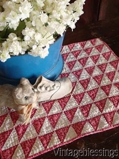 Tiny Pieces DOLL QUILT from a Antique c1880 Double Pink & White Flying Geese