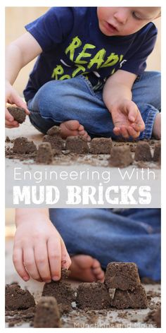 Engineering with Mud Bricks. Fantastic preschool STEM activity (although it can truly be used for upper elementary as well- great ideas in the post! Outside Activities, Nature Activities, Science Activities For Kids, Spring Activities, Sensory Activities, Toddler Activities, Sensory Play, Outdoor Activities For Preschoolers, Primary Science
