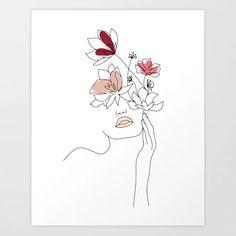 Minimal Line Art Woman With Flowers I Art Print by betterhome Line Art Flowers, Flower Art, Outline Art, Small Canvas Art, Abstract Line Art, Female Art, New Art, Art Drawings, Creations