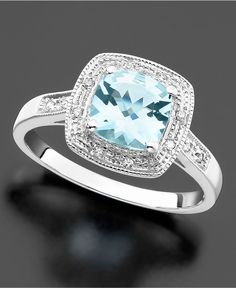 Grace your finger with this glittering cushion-cut aquamarine ct.) surrounded with round-cut diamond accents on a white gold band. You can return this item to any Macy's store Phot Jewelry Rings, Jewelery, Jewelry Accessories, Fine Jewelry, Jewelry Watches, Pretty Rings, Beautiful Rings, Gold Engagement Rings, Wedding Rings