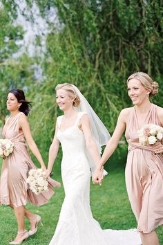Rosewater short straights | twobirds Bridesmaid dresses | A real wedding featuring our multiway, convertible dresses | As featured in You & Your Wedding.  Photography by Polly Alexandre