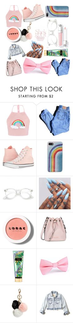 """""""Rainbows"""" by goldenelenaisaunicorn on Polyvore featuring Levi's, Converse, Marc Jacobs, LORAC, Armani Jeans, Victoria's Secret, GUESS and Hollister Co."""