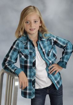 Roper® Girls Blue Spruce Embroidered Plaid Long Sleeve Pearl Snap Western Shirt