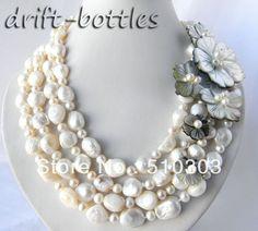 4 fili 18'' 13mm tondo bianco barocco acqua dolce perla shell collana di fiori