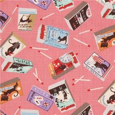 rose pink structured colorful cat match box fabric by Cosmo from Japan 1