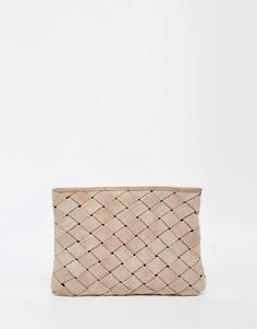 Image 1 of ASOS Suede Woven Clutch Bag