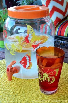 DIY Painted Drink Dispenser with Martha Stewart Crafts Glass Paint  #marthastewartcrafts #12MonthsofMartha