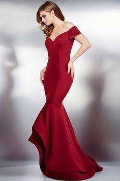 Wine Cap Sleeve Mermaid Evening Dress 34009