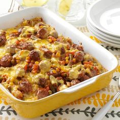 Midwest Meatball Casserole Recipe -I've relied on this recipe many times as a soothing finish to a hectic day.and since I usually have all the ingredients on hand, there's no last- minute rush to the store, either. Meatball Recipes, Beef Recipes, Cooking Recipes, Chicken Recipes, Potluck Recipes, Casserole Recipes, Dinner Recipes, Potluck Ideas