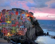 "The Cinque Terre is a rugged portion of coast on the Italian Riviera. It is in the Liguria region of Italy, to the west of the city of La Spezia. ""The Five Lands"" is composed of five villages: Monterosso al Mare, Vernazza, Corniglia, Manarola, and Riomaggiore. The coastline, the five villages, and the surrounding hillsides are all part of the Cinque Terre National Park"