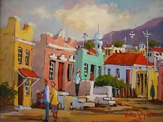 Purchase artwork Old District Six - Oil Painting by South African Artist Willie Strydom African Artwork, South African Artists, Art Portfolio, Landscape Paintings, Fine Art, Pictures, Oil, Image, Photos