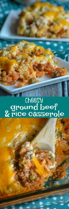 A perfect, quick & easy weeknight meal, comfort food like this flavorful Cheesy Ground Beef And Rice Casserole is studded with kid friendly veggies and a creamy cheesy topping, making it a dinner kids will love and the answer to many a busy parent's prayers.  via @4sonrus