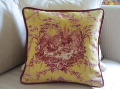 red and yellow french country   French Country Pillow Cover, Red and Yellow Toile Rooster Pillow, Red ...