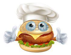 hamburger: A fun cartoon chef hamburger character wearing a chef hat and doing a…