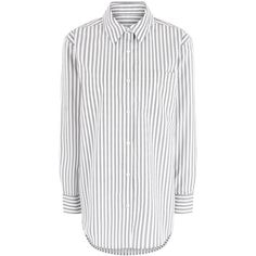 Equipment White Cotton Striped Daddy Shirt ($360) ❤ liked on Polyvore featuring tops, multi, white striped shirt, striped shirt, striped top, striped long sleeve shirt and long-sleeve shirt