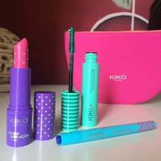 Novità @kikocosmeticsofficial! La collezione #MiamiBeachBabe: il rossetto #DecoDelight Margarita Dreams è TROPPO figo coi pois! In più in questa foto trovate il Mascara Power Pop e l'eye-liner Miami Click Slick!