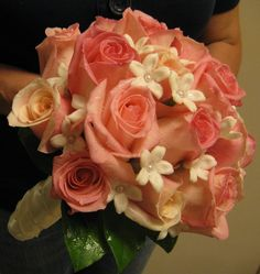 Simple Contemporary Bridal Bouquet. Pink Roses with Stephanotis & Pearls! - White silk wrapped stems - At Jacqueline's Florist