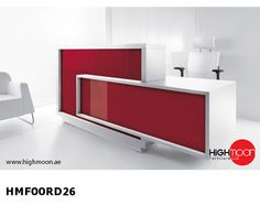 Foro reception desk is a contemporary reception counter suitable for one person. The Foro reception desk is robust and features high and low sections with practicable storage behind. White Reception Desk, Reception Desk Design, Reception Counter, Office Reception, Office Table, Lobby Reception, Office Chairs, Home Office, Bureau Design