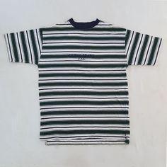 Vtg 90s Guess Jeans USA Spell Out Green Striped T Shirt ASAP Rocky Hip Hop  Rap S aca310e599c8