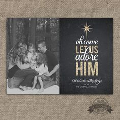 Christian Christmas Cards - Oh Come Let Us Adore Him - Christ the Lord - Religious Card - Scripture - Glitter and Chalkboard - Modern Christian Photo Card with Sparkle - Gold Glitter by Lemonade Design Studio