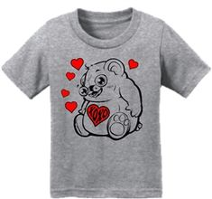 Hugs & Kisses Heart Bear Infant Toddler T-Shirt Gray Dont Forget To Smile, Don't Forget, Forever Puppy, Patriotic Outfit, Cute Cartoon Animals, Christian Clothing, Best Friends Forever, Shirt Price, Wholesale Clothing