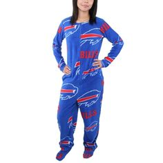 Buffalo Bills Women's Ramble Union Suit Footed Pajamas - Royal Blue