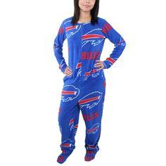 Buffalo Bills Women's Ramble Union Suit Footed Pajamas - Royal Blue